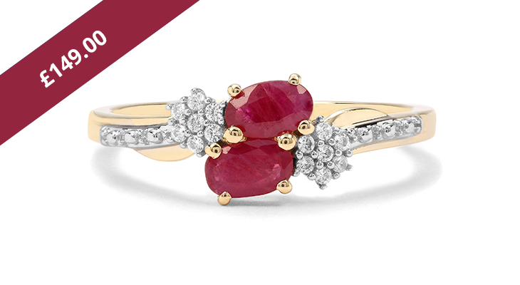 Burmese Ruby & White Zircon Ring