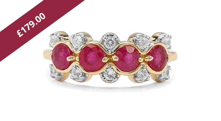 Burmese Ruby & Zircon Gold Ring