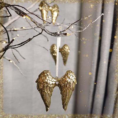 Ceramic Gold Angel Wing Decorations