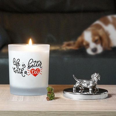 Dog Lovers Candle with a Carved Dog