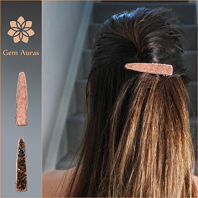 Rose Gold Coloured Hair Clip with Gems