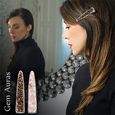 Silver Coloured Hair Clip with Gems