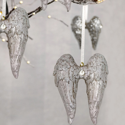 Set of 4 Silver Angel Wing Tree Decorations