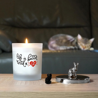 Cat Lovers Candle with a Carved Cat